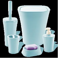 Набір для ванної кімнати Planet Papillon 5 предметів сіро-блакитний