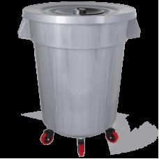 Бак для сміття Planet №6 120 л на колісах сірий металік