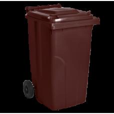 Бак для сміття на колесах з ручкою 240 літрів темно-коричневий 4050
