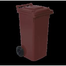 Бак для сміття на колесах з ручкою 120 л темно-коричневий 5056