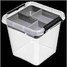 Бокс квадратный Orplast 4 л с вставкой крышкой клипсами прозрачный
