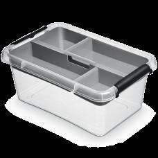 Бокс прямоугольный Orplast 3,1 л с вставкой крышкой клипсами прозрачный
