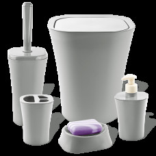 Набір для ванної кімнати Planet Papillon 5 предметів сірий 6887