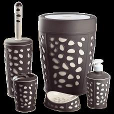 Набір для ванної кімнати Planet Stone 5 предметів коричневий-крем 6865