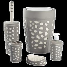 Набір для ванної кімнати Planet Stone 5 предметів сіро-кремовий 6866