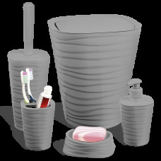 Набір для ванної кімнати Planet Welle 5 предметів сірий 6899