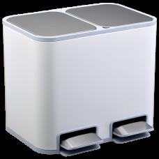 Ведро для сортировки мусора JAH 18 л прямоугольное с педалью и внутренним ведром белое